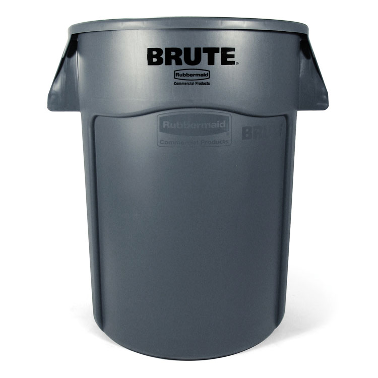 Brute Round Vented Trash Receptacle, Gray - 44 Gallon