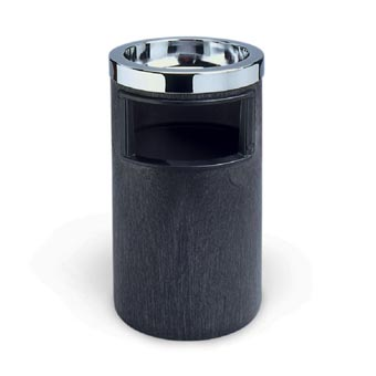 Rubbermaid [2586] Smoking Urn Ash/Trash Receptacle w/ Metal Ashtray Top - Black/Chrome