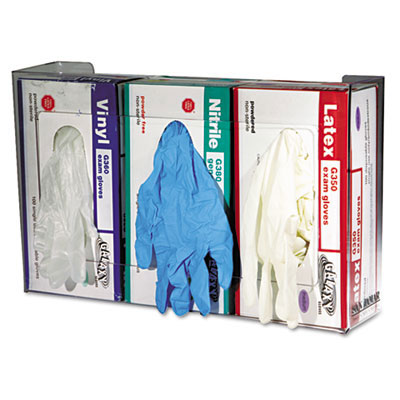 San Jamar Clear Plexiglas Three-Box Disposable Glove Dispenser