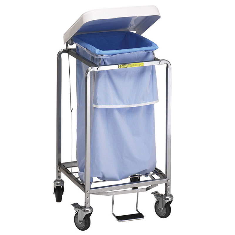 single leakproof deluxe metal laundry hamper w foot pedal - Laundry Carts