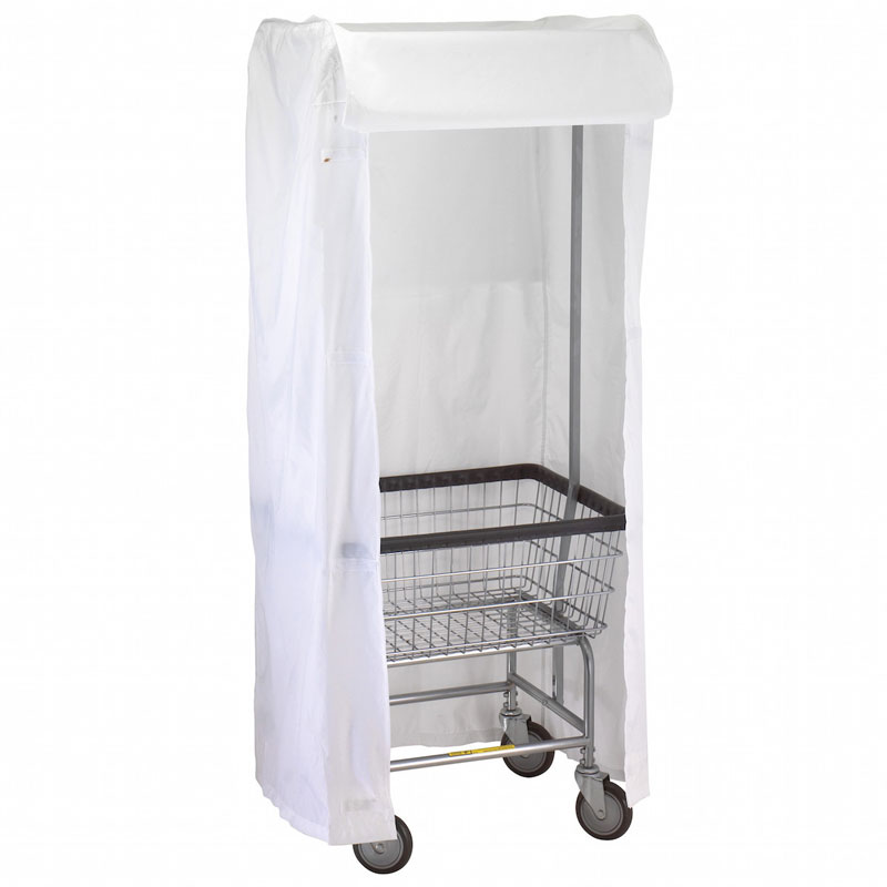 R&B Wire [151] Wire Frame Metal Laundry Cart Rack Frame & Nylon Cover - White