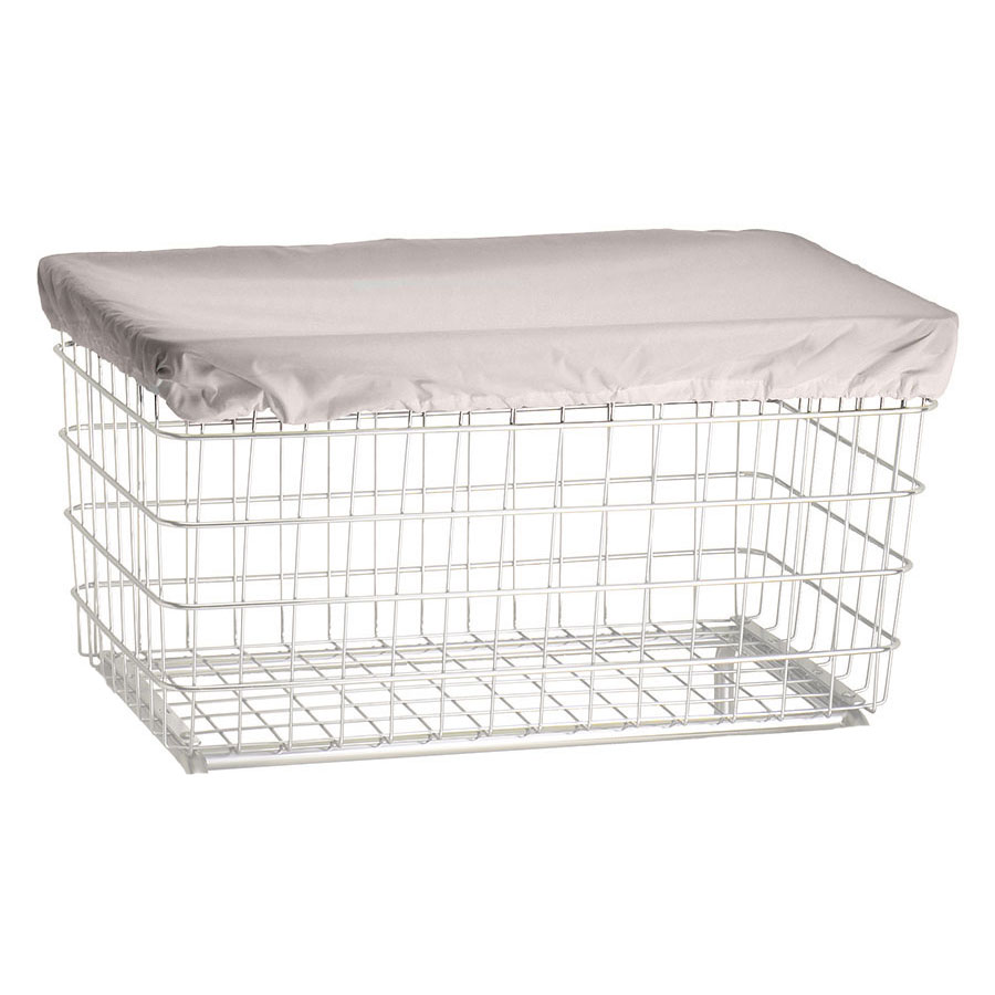 R&B Wire Laundry Cart Antimicrobial Cover Cap - F Baskets - White