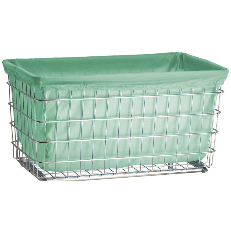R&B Wire [242] Wire Frame Metal Laundry Cart Antimicrobial Basket Liner - F Baskets - Green