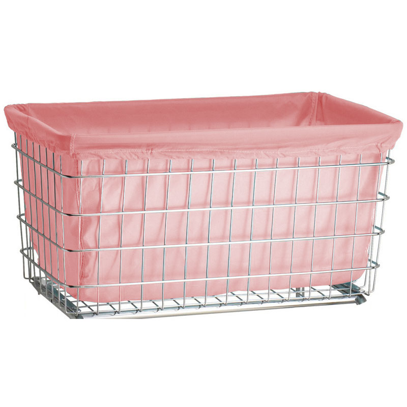 R&B Wire [242] Wire Frame Metal Laundry Cart Antimicrobial Basket Liner - F Baskets - Mauve