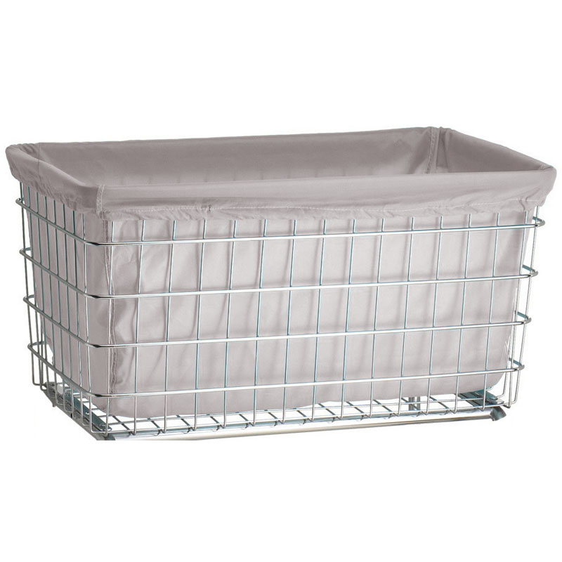 R&B Wire [242] Wire Frame Metal Laundry Cart Antimicrobial Basket Liner - F Baskets - White