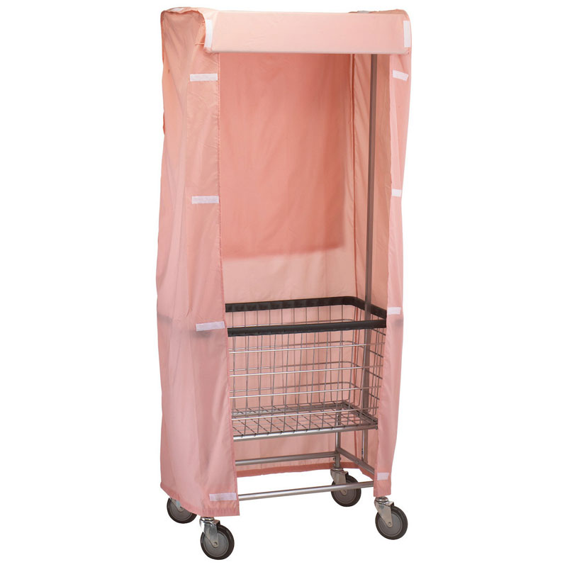 R&B Wire [251] Wire Frame Metal Laundry Cart Rack Frame & Nylon Cover - Mauve