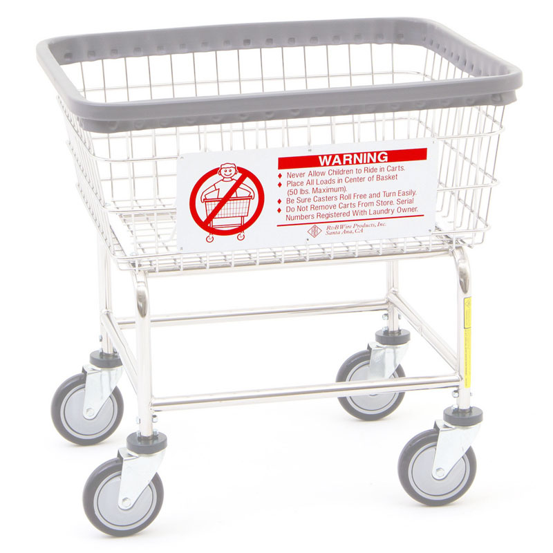R&B Wire Metal Laundry Cart Basket Warning Sign