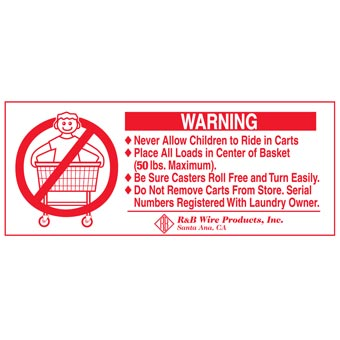 R&B Wire [902] Metal Laundry Cart Basket Warning Sign