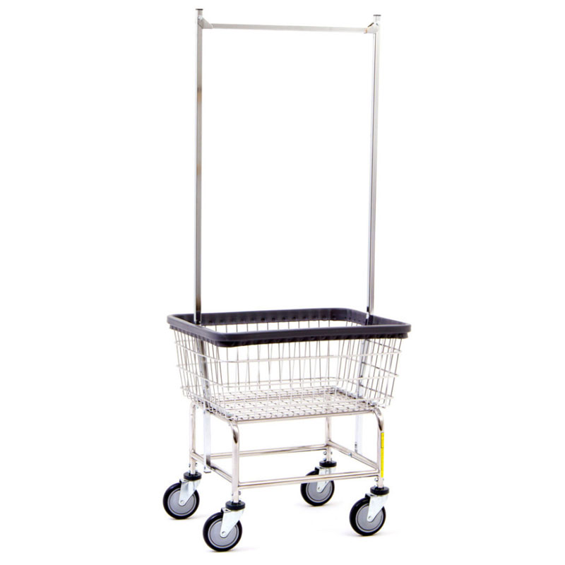 Narrow Wire Frame Metal Laundry Cart w/ Double Pole Rack - 2 Bushel Capacity - Chrome