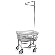 Antimicrobial Wire Frame Laundry Cart w/ Single Pole Rack - 2.5 Bushel