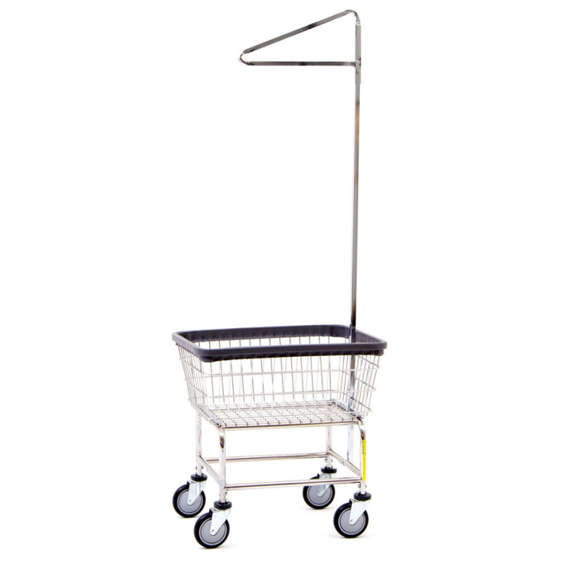 R&B Wire Standard Wire Laundry Cart w/ Single Pole Rack - 2 1/2 Bushel