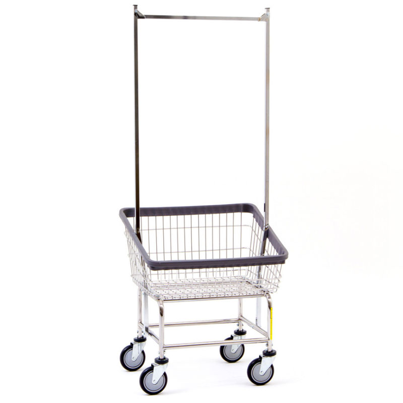 R&B Wire Front Loading Wire Frame Laundry Cart - 2 1/4 Bushel