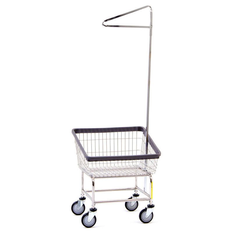 R&B Wire Front Loading Laundry Cart w/ Single Pole Rack - 2 1/4 Bushel