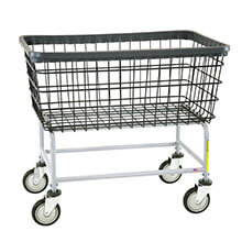 R&B Wire Large Capacity Wire Frame Metal Laundry Cart - 4 1/2 Bushel