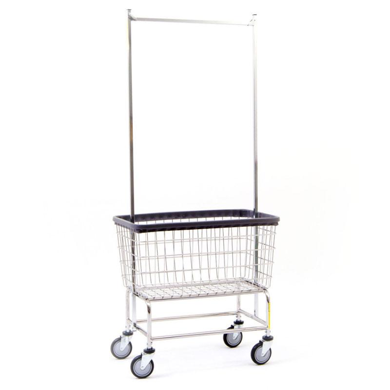 large capacity wire laundry cart w double pole rack 45 bushel - Laundry Carts