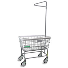 Antimicrobial Large Capacity Laundry Cart w/ Single Pole Rack - 4.5 Bushel