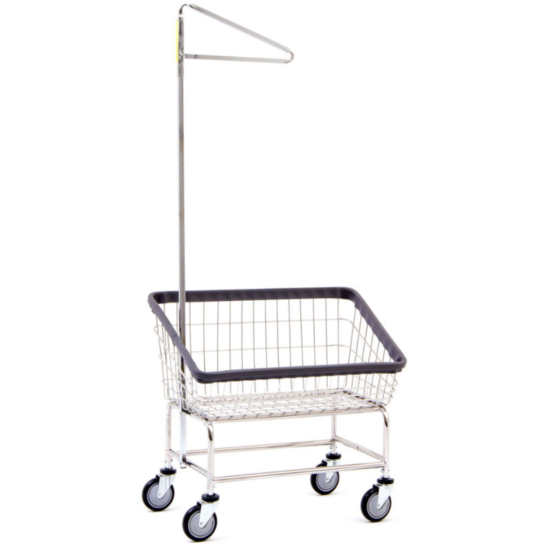 200S91 Large Capacity Front Load Metal Laundry Cart w/ Single Pole Rack