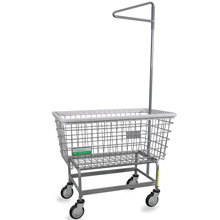 Antimicrobial Mega Capacity Laundry Cart w/ Single Pole Rack - 6 Bushel