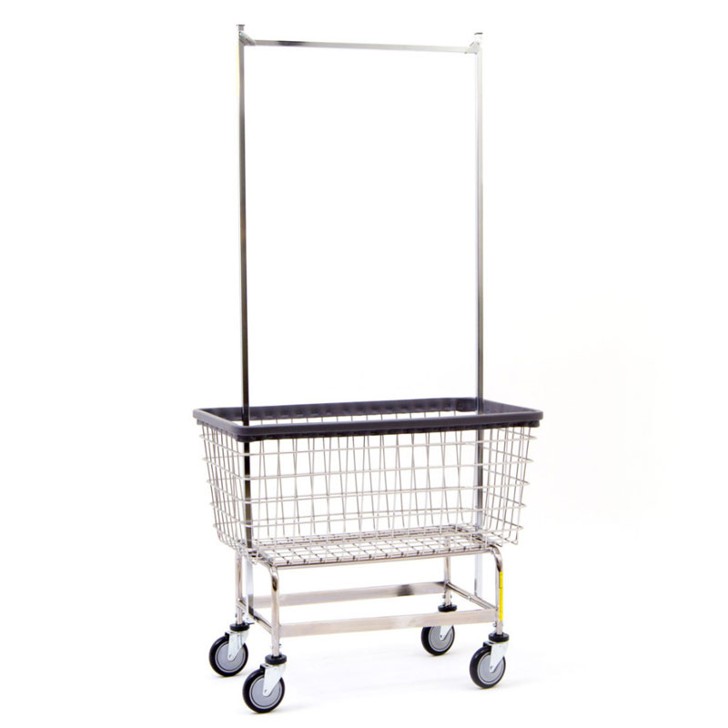 mega capacity wire frame metal laundry cart w   double pole