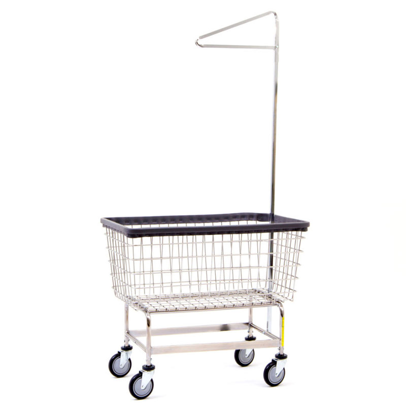mega capacity wire frame metal laundry cart w   single pole