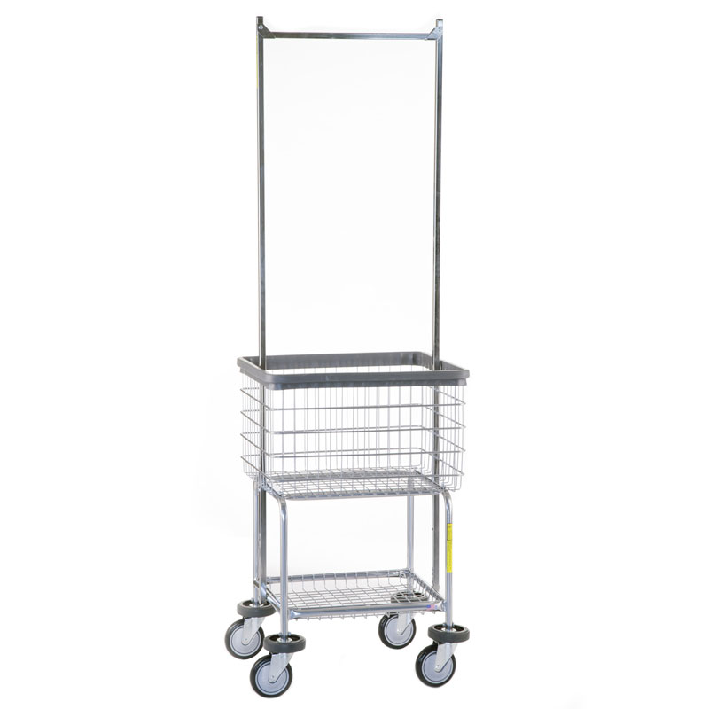 Deluxe Elevated Wire Frame Laundry Cart w/ Double Pole Rack - 3 1/2 Bushel