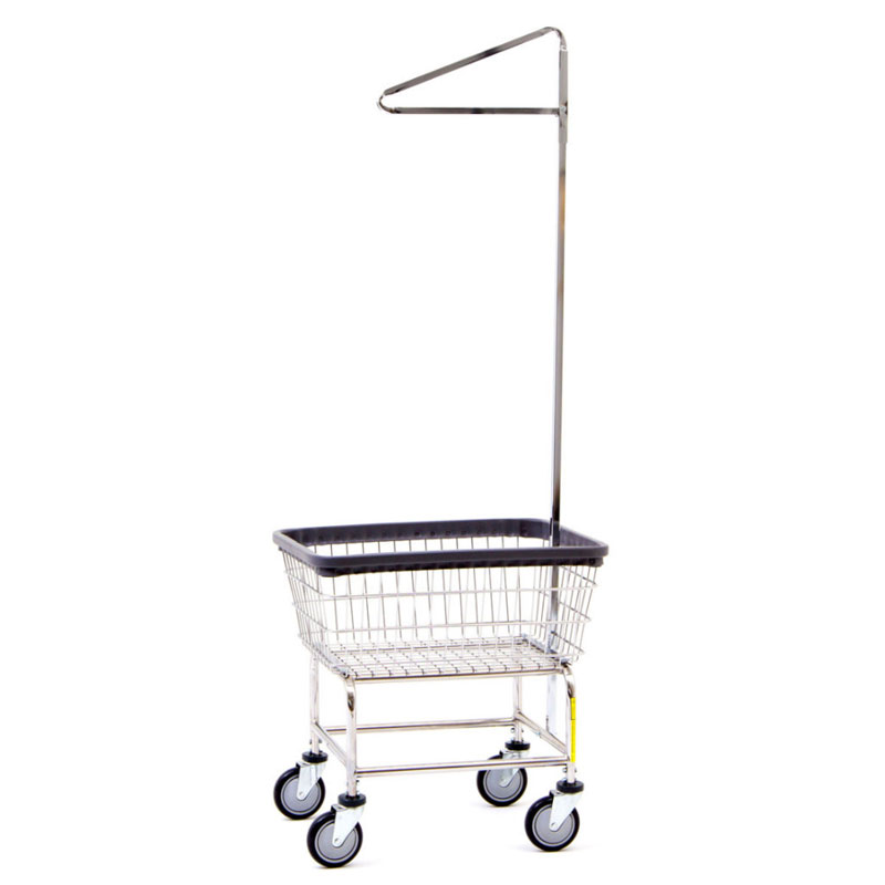 R&B Wire 100D91 Narrow Wire Frame Laundry Cart w/ Single Pole Rack - 2 Bushel
