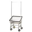 R&B Wire [100T58] Front Loading Wire Frame Metal Laundry Cart w/ Double Pole Rack - 2 1/4 Bushel Capacity - Chrome RB-100T58-C