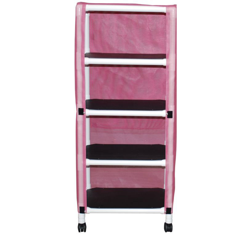 Echo Series PVC Plastic Frame 4-Shelf Mini-Linen Cart - 20