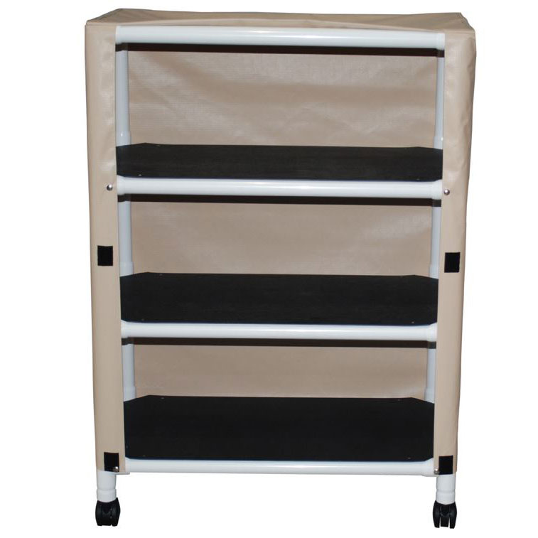 Echo Series PVC Plastic Frame 3-Shelf Utility/Linen Cart - 20
