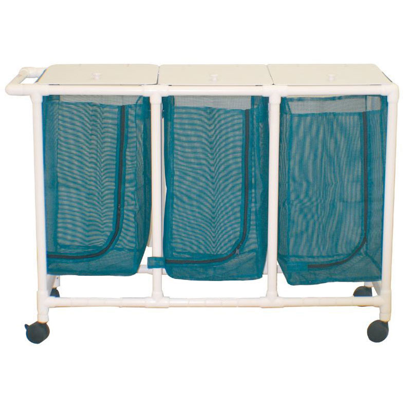PVC Plastic Frame Triple Laundry Hamper - 28 Gallon Mesh Bag