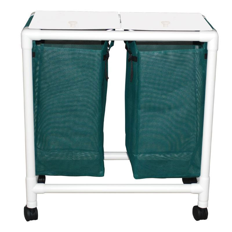 MJM International [E214-D-3TW-FP] Echo Series PVC Plastic Frame Double Laundry Hamper w/ Foot Pedal Access - Mesh Bag - 15 Gal. Capacity Per Bag