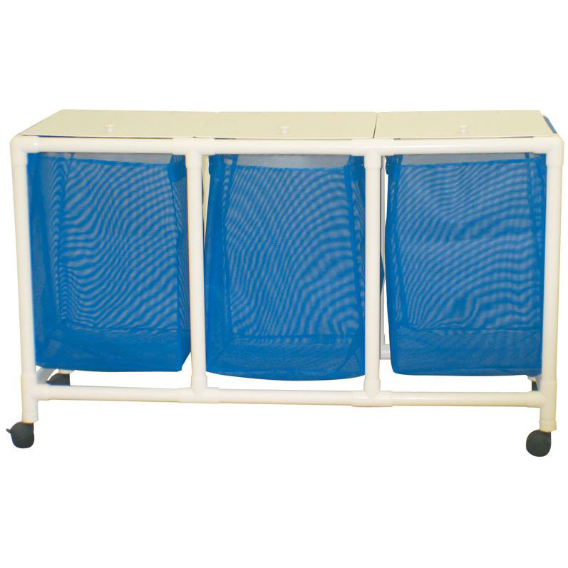 MJM International [E218-T-3TW] Echo Series PVC Plastic Frame Triple Laundry Hamper - Mesh Bag - 25 Gal. Capacity Per Bag