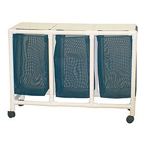 Echo Series PVC Plastic Frame Triple Laundry Hamper - 15 Gal.