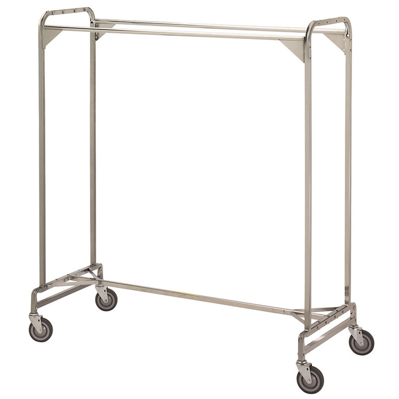 R&B Wire Portable Metal Double Bar Garment Storage Rack - 60