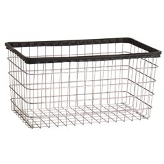 R&B Wire [F] Replacement Metal Wire Frame Laundry Cart Basket - 4 1/2 Bushel Capacity - Chrome