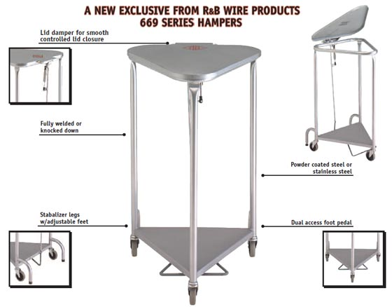 R&B Wire [669SS] Deluxe Portable Triangular Hamper w/ Damping Lid - Stainless Steel