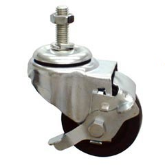 MJM International [R3HD] Replacement Single Wheel Heavy Gauge Steel Threaded Stem Casters - (4) 3