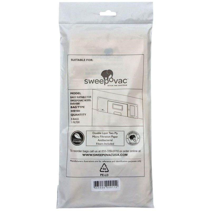 Sweepovac Replacement Vacuum Bags and Filter