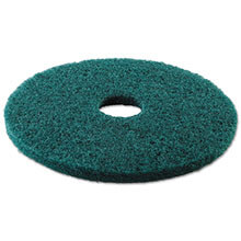 "Premiere Pads Floor Machine Heavy-Duty Scrubbing Pad - Green - (5) 17"" Dia. Pads"