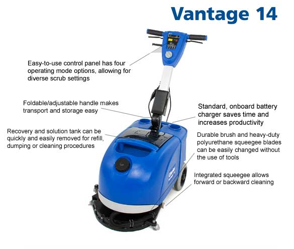 Battery operated floor scrubber 14 unoclean for Floor scrubber
