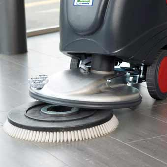 Scrubbing brush is easily mounted on the front of the Cleanfix RA505 IBCT Battery Operated Floor Scrubber
