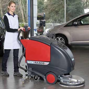 The Mastercraft Cleanfix RA505 IBCT Battery Floor Scrubber is recommended to be used on show room floors, gymnasiums, cafeterias, etc.