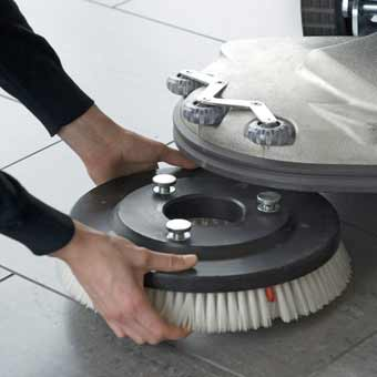 The Scrubber Brush is easily mounted on the Cleanfix RA 605 Battery Floor Scrubber