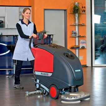 The Cleanfix RA 605 Battery Operated Floor Scrubber is a perfect machine for any show room, gymnasium, cafeteria, etc.