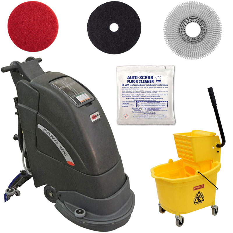 Electric Floor Scrubber Silver Package