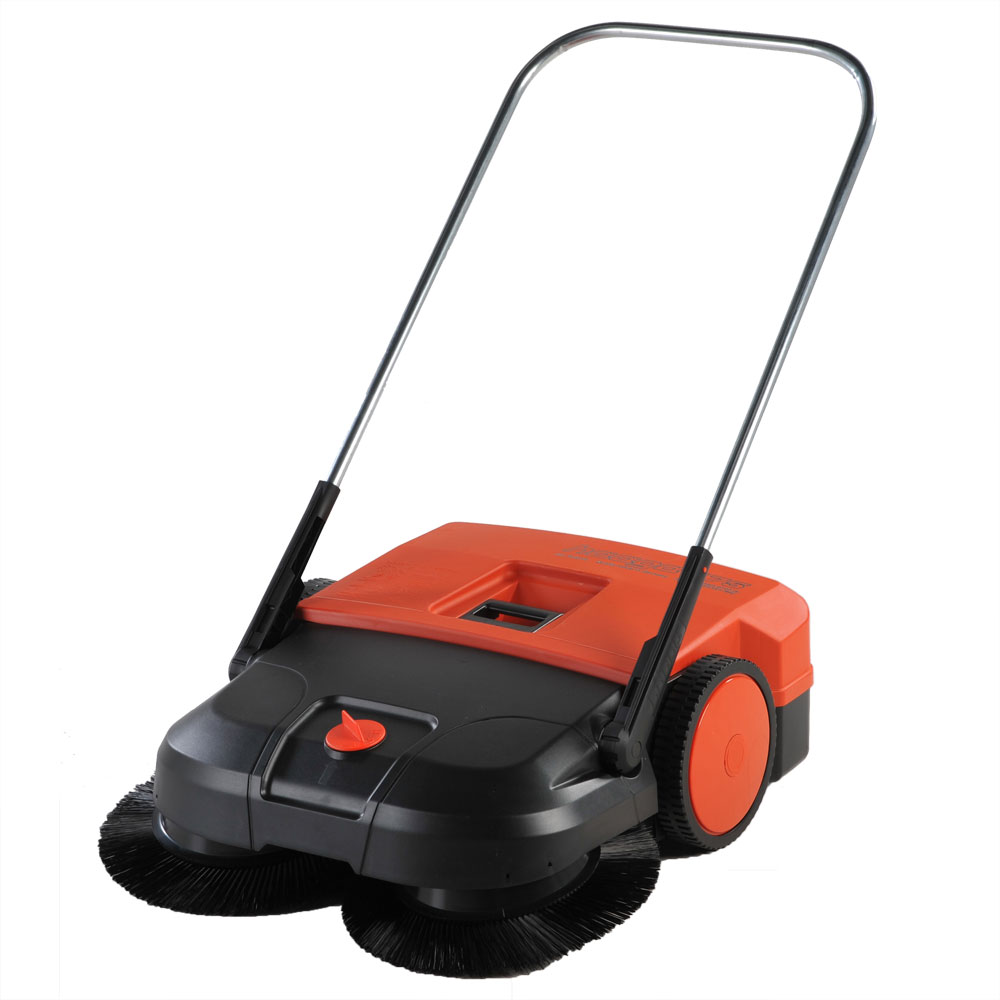 Rotary Broom Sweeper : Quot triple brush push power sweeper gallon unoclean