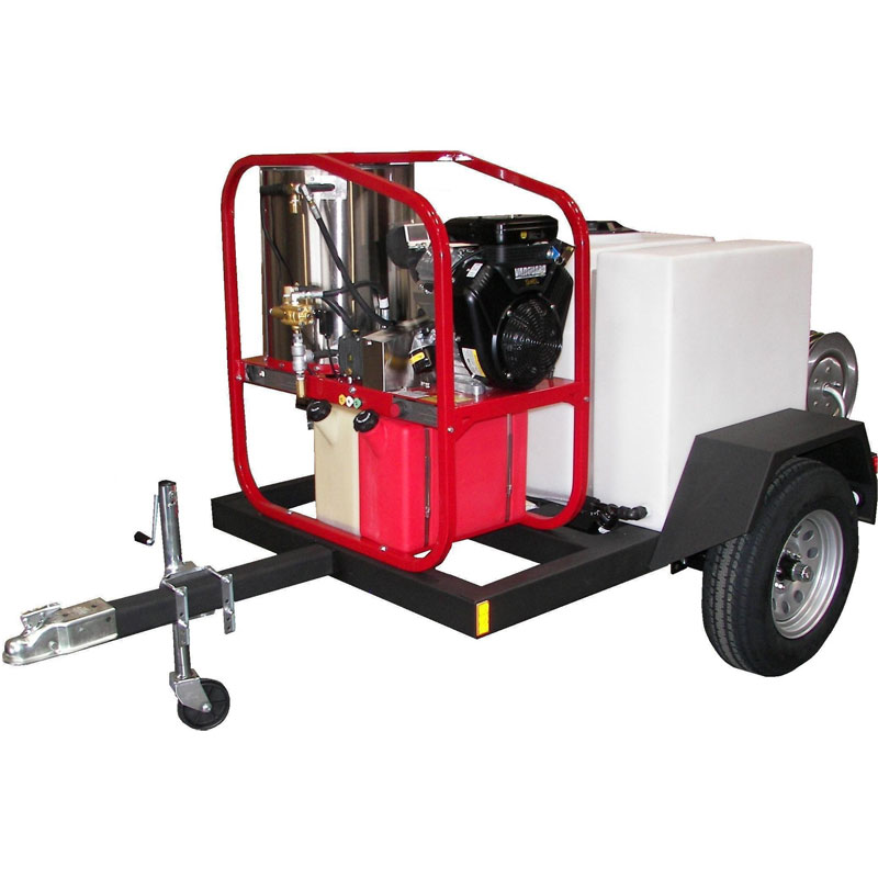 Hot2Go Single Axle Gas Pressure Washer Skid Trailer - 4000 PSI