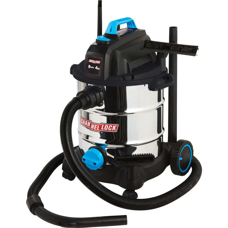 Stainless Steel Wet/Dry Utility Vacuum - 8 Gallon - 4.0 HP