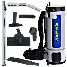 10 Quart Atlas Backpack Vacuum w/ Turbo Brush Tool Kit