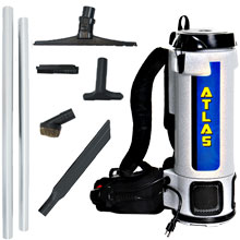 Atlas Backpack Vacuum w/ Sidewinder Tool Kit - 6 Quart